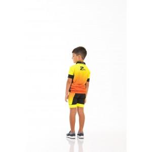 CONJUNTO INFANTIL Z-NINE MC AMARELO NEON/LARANJA